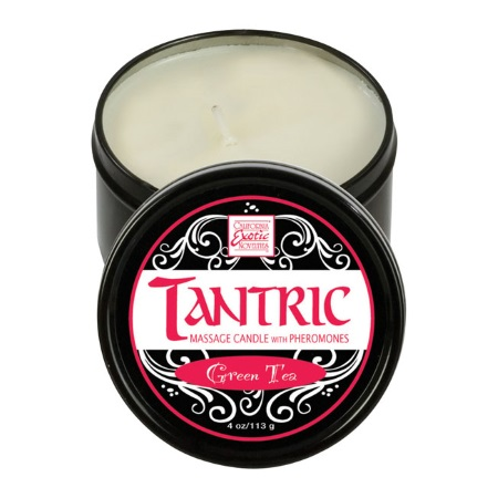 Masāžas svece Tantric massage candle with pheromones (0782) 113g. Green tea